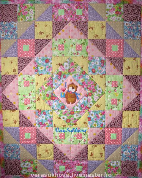 Авторское детское одеяло с аппликацией