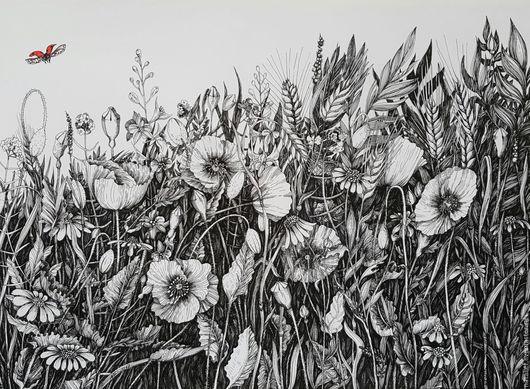 Картины цветов ручной работы. Ярмарка Мастеров - ручная работа. Купить Полет. Handmade. Синий, цветы, букет, ваза, стол