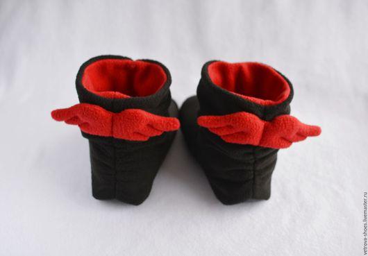"""Обувь ручной работы. Ярмарка Мастеров - ручная работа. Купить Домашние сапожки """"Падший ангел"""". Handmade. Черный, ангел, богиня"""