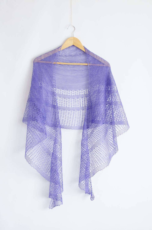 Вязаная ажурная шелковая шаль Jacaranda серповидной формы, Шали, Ногинск,  Фото №1