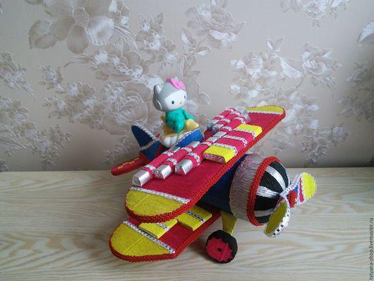 Персональные подарки ручной работы. Ярмарка Мастеров - ручная работа. Купить Сладкий самолет.. Handmade. Комбинированный, сладкий подарок, тесьма