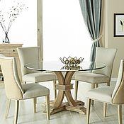 Для дома и интерьера ручной работы. Ярмарка Мастеров - ручная работа Дизайнерский круглый обеденный стол из массива со стеклянной столешниц. Handmade.