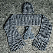 Аксессуары handmade. Livemaster - original item Set: scarf, hat and mittens (gray). Handmade.