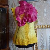 Одежда ручной работы. Ярмарка Мастеров - ручная работа женский валяный жилет желтый. Handmade.