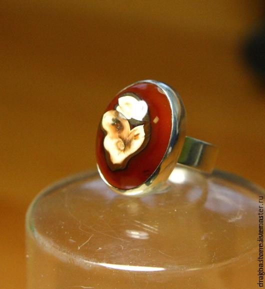 """Кольца ручной работы. Ярмарка Мастеров - ручная работа. Купить Кольцо """"Аленький цветочек"""" с Агатом. Handmade. Ярко-красный"""