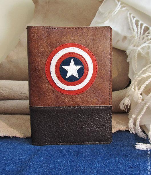 """Обложки ручной работы. Ярмарка Мастеров - ручная работа. Купить Обложка на паспорт """"Капитан Америка"""". Handmade. Коричневый, обложка для паспорта"""