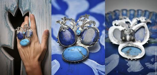 Кольца ручной работы. Ярмарка Мастеров - ручная работа. Купить Кольцо из серебра с лазуритом, бирюзой и цирконом.. Handmade. Комбинированный, бирюзовый
