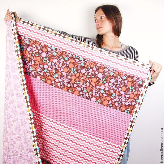 Пледы и одеяла ручной работы. Ярмарка Мастеров - ручная работа. Купить Лоскутное одеяло для маленькой леди. Handmade. Розовый, покрывало