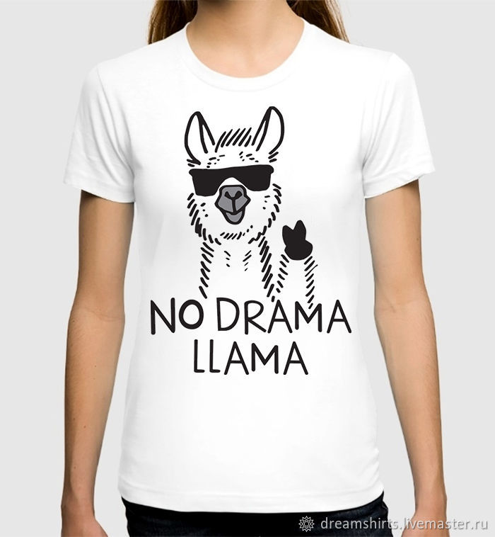 "Футболка хлопковая ""No Drama Llama"", T-shirts, Moscow,  Фото №1"