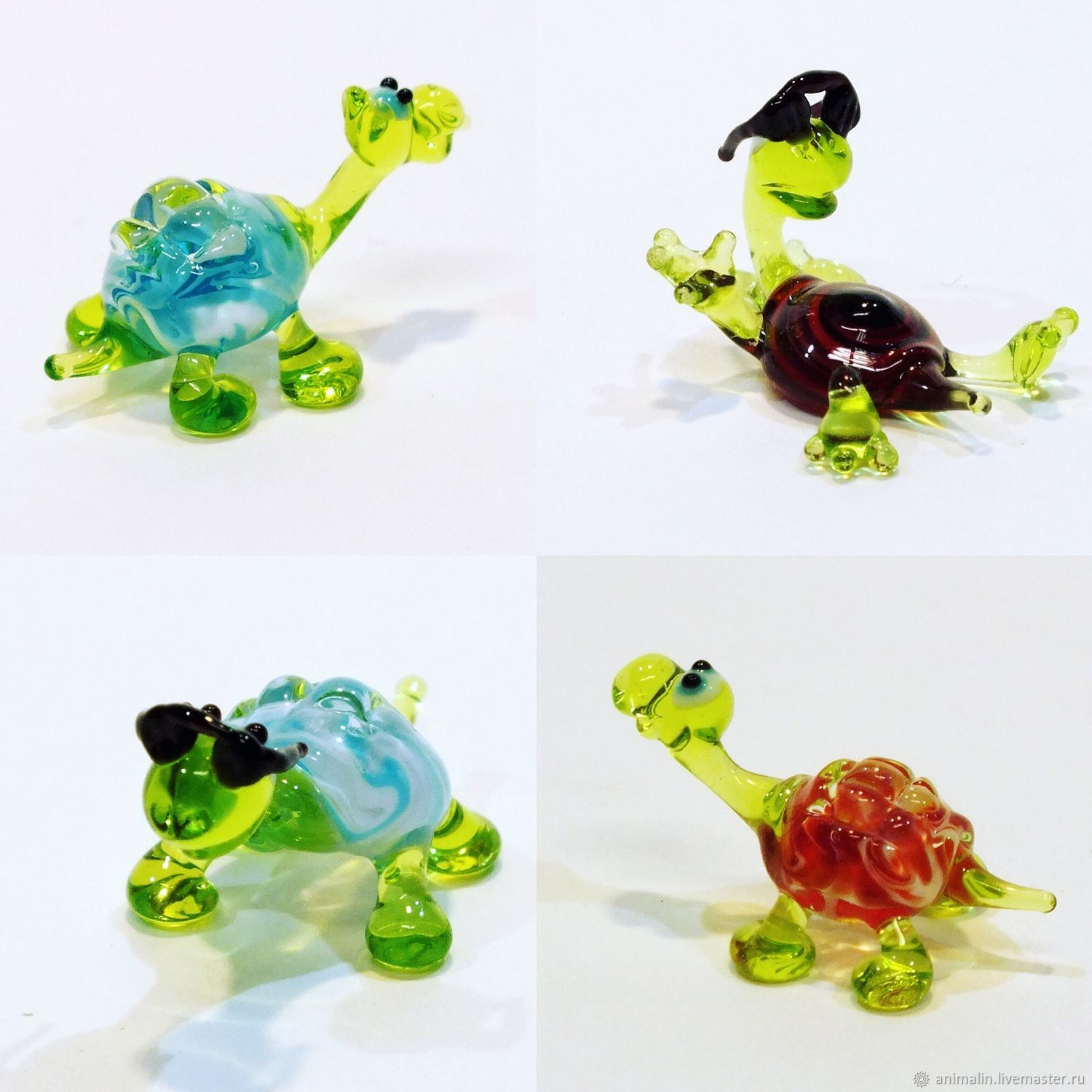 Collectible micro figurine made of colored glass Turtle lightnin, Miniature figurines, Moscow,  Фото №1