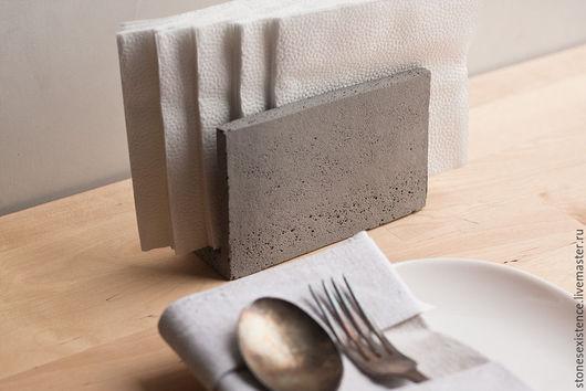 Декоративная посуда ручной работы. Ярмарка Мастеров - ручная работа. Купить Объект #5 Держатель салфеток из бетона. Handmade. Серый