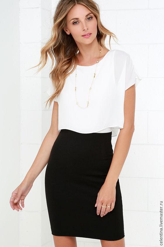 Черная короткая прямая юбка