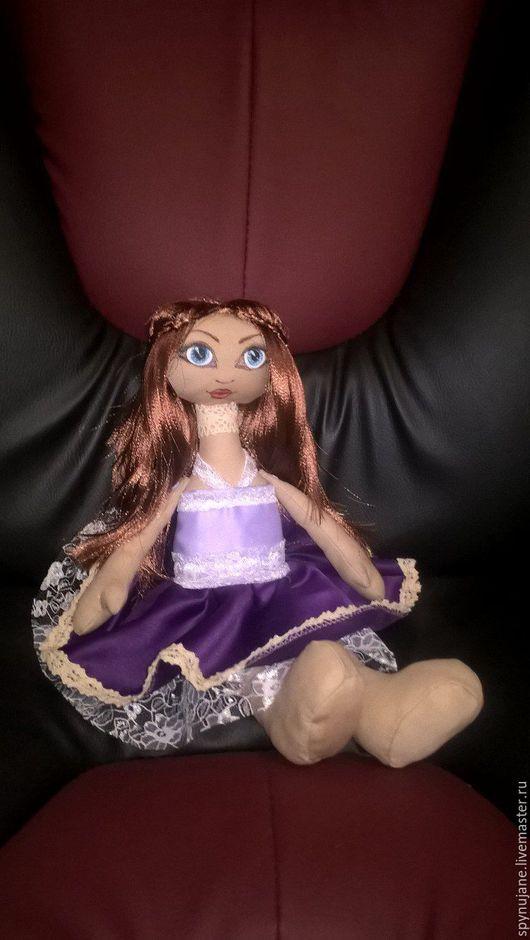 Куклы тыквоголовки ручной работы. Ярмарка Мастеров - ручная работа. Купить Кукла Наталья. Handmade. Тёмно-фиолетовый, ткань
