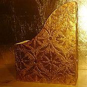 Канцелярские товары ручной работы. Ярмарка Мастеров - ручная работа Журнальница с узором и поталью золотого цвета. Handmade.