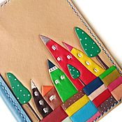 handmade. Livemaster - original item Summer Decor Leather Passport Holder Leather Passport Cover Modern Art. Handmade.