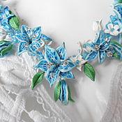 Украшения ручной работы. Ярмарка Мастеров - ручная работа Голубые лилии. Handmade.