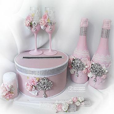 Свадебный салон ручной работы. Ярмарка Мастеров - ручная работа Свадебный набор аксессуаров розовый с цветами и брошами. Handmade.