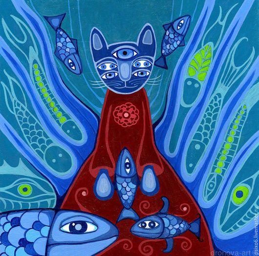 Животные ручной работы. Ярмарка Мастеров - ручная работа. Купить КотоПсиходелия. Handmade. Комбинированный, сюрреализм, коты, картина, необычный подарок