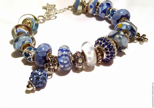 """Браслеты ручной работы. Ярмарка Мастеров - ручная работа. Купить """"Снегурочка"""", сверкающе-голубой браслет. Handmade. Снежно-голубой браслет"""