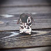 Украшения handmade. Livemaster - original item Wood badge Bunny. Handmade.