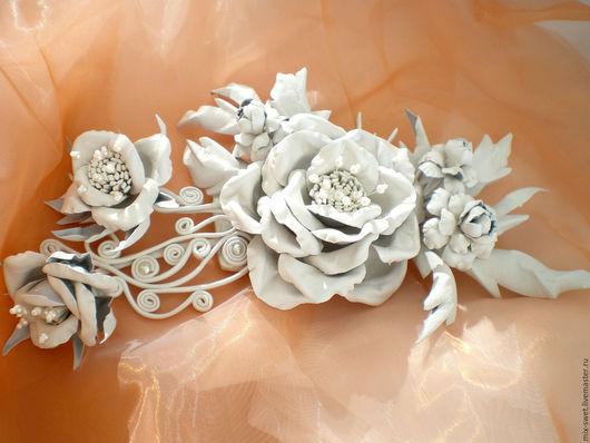 Свадебные украшения ручной работы. Ярмарка Мастеров - ручная работа. Купить Цветы из кожи. Свадебная заколка. Handmade. Свадьба, украшение