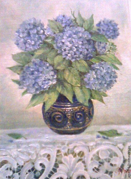 Картины цветов ручной работы. Ярмарка Мастеров - ручная работа. Купить Гортензия в синей вазе. Handmade. Гортензии, кружева