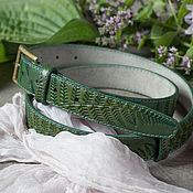 Аксессуары handmade. Livemaster - original item Green leather Belt for Women 1.2 inches wide.. Handmade.