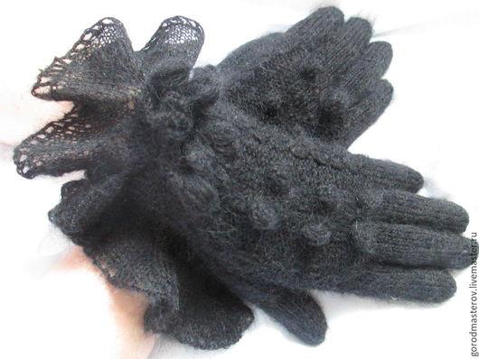 """Варежки, митенки, перчатки ручной работы. Ярмарка Мастеров - ручная работа. Купить Перчатки """" Неженка"""" черные. Handmade. Черный"""