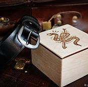 Ремни ручной работы. Ярмарка Мастеров - ручная работа Черный мужской кожаный ремень -BRAVE- в деревянной подарочной упаковке. Handmade.