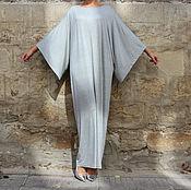 Одежда ручной работы. Ярмарка Мастеров - ручная работа Серое элегантное длинное макси платье, кафтан, абайя. Handmade.