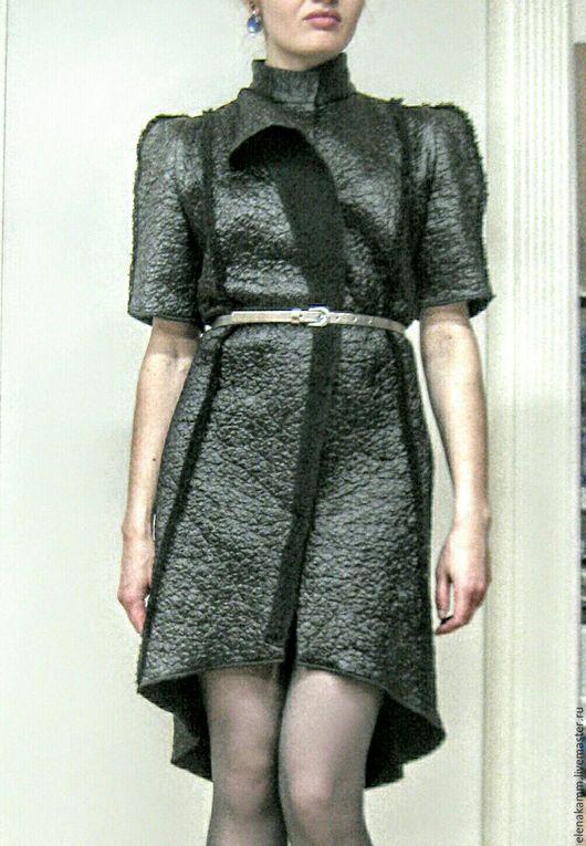 Верхняя одежда ручной работы. Ярмарка Мастеров - ручная работа. Купить Стильное пальто с коротким рукавом. Handmade. Черный