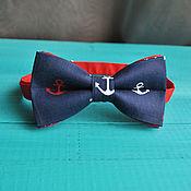 Аксессуары handmade. Livemaster - original item Tie Boats / bow tie dark blue anchors. Handmade.