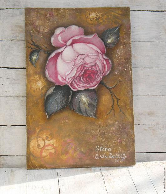 """Картины цветов ручной работы. Ярмарка Мастеров - ручная работа. Купить Картина в стиле mixed media """"Pink"""" - роза на горчичном фоне. Handmade."""