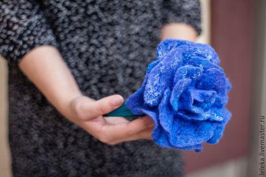 """Диадемы, обручи ручной работы. Ярмарка Мастеров - ручная работа. Купить ободок """"синяя роза"""". Handmade. Синий, ободок с цветком"""