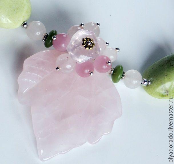 Necklace cherry Blossom rose quartz jadeite, Necklace, Moscow,  Фото №1