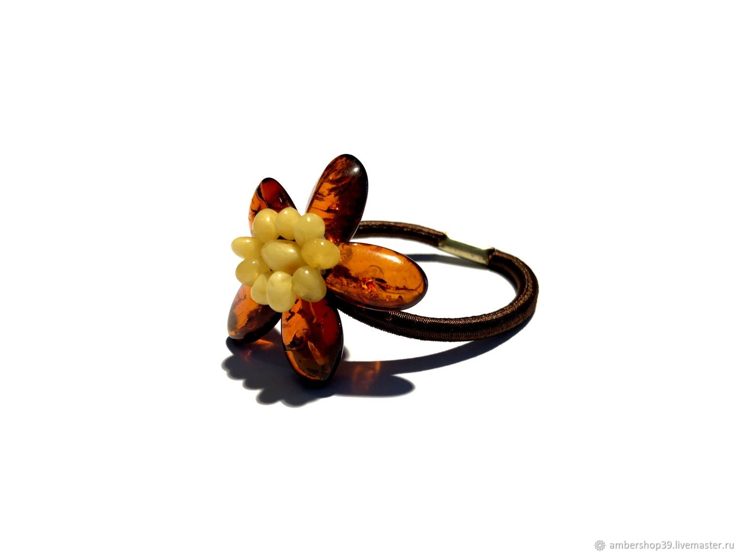 Elastic with flower made of natural amber, Scrunchy, ,  Фото №1
