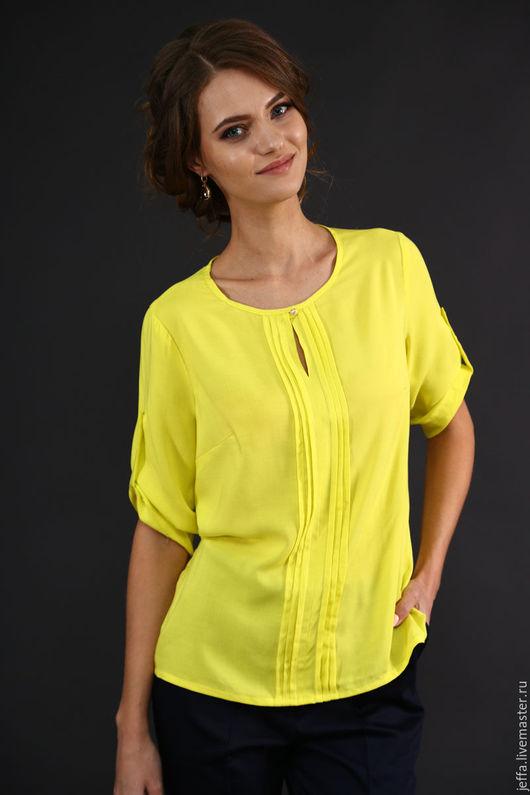 Блузки ручной работы. Ярмарка Мастеров - ручная работа. Купить Блузка из штапеля арт.1301. Handmade. Желтый, офисный стиль