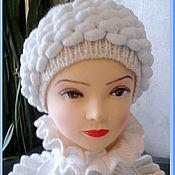 Аксессуары ручной работы. Ярмарка Мастеров - ручная работа Теплая шерстяная шапочка с шарфом. Handmade.