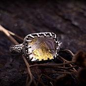 """""""Джейн"""" серебряное кольцо с кварцем и сусальным золотом"""