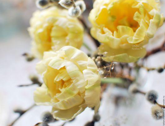 Цветы ручной работы. Ярмарка Мастеров - ручная работа. Купить Желтые тюльпаны.. Handmade. Желтый, реалистичная флористика, украшение для дома
