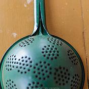 Винтаж handmade. Livemaster - original item Colander Soviet dark green. Handmade.