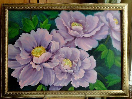 Картины цветов ручной работы. Ярмарка Мастеров - ручная работа. Купить картина ручной работы пионы. Handmade. Розовый, Живопись