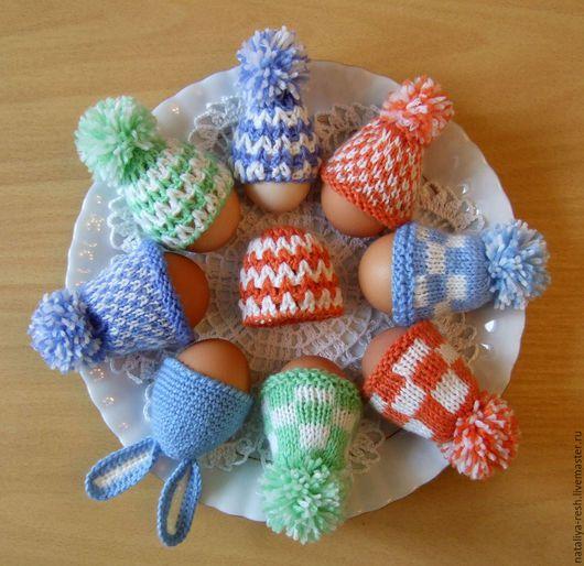 Подарки на Пасху ручной работы. Ярмарка Мастеров - ручная работа. Купить Шапочки на пасхальные яйца. Handmade. Подарок на Пасху, комбинированный
