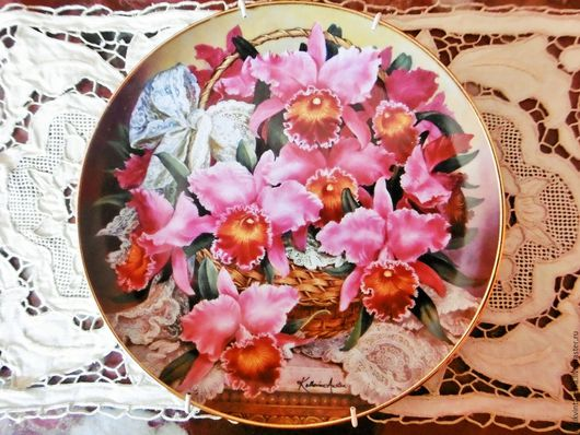 Винтажная посуда. Ярмарка Мастеров - ручная работа. Купить Винтажная коллекционная тарелка Orchidees фарфор ХХ век Португалия. Handmade.