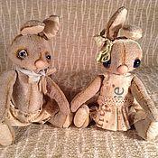 Куклы и игрушки ручной работы. Ярмарка Мастеров - ручная работа Влюбленная пара зайцев Тедди. Handmade.