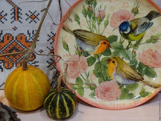 """Кухня ручной работы. Ярмарка Мастеров - ручная работа. Купить Тарелка """"Птицы"""". Handmade. Комбинированный, панно на стену, салфетки для декупажа"""