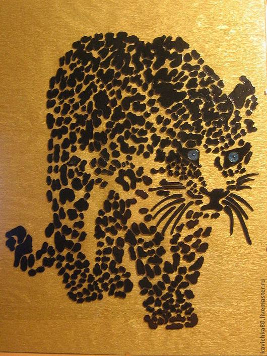 Животные ручной работы. Ярмарка Мастеров - ручная работа. Купить Леопард. Handmade. Чёрно-белый, леопард, картина, подарок