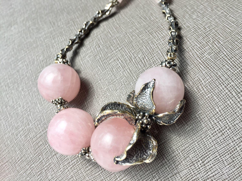 Choker Mechanie. Rose quartz, designer accessories, Necklace, Moscow,  Фото №1