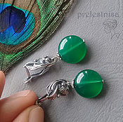 Украшения ручной работы. Ярмарка Мастеров - ручная работа Серьги с зеленым агатом (под хризопраз), серебро. Handmade.