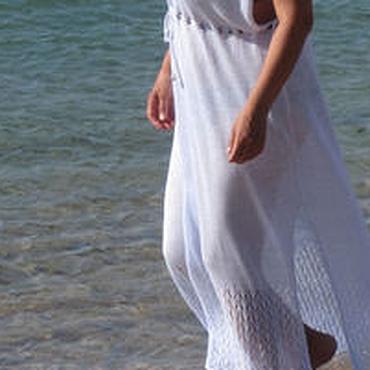 Одежда ручной работы. Ярмарка Мастеров - ручная работа Солнце, море, белая туника.....Пляжное платье в пол. Handmade.